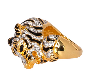 Kenneth Jay Lane Crystal and Gold Embellished Panther Ring