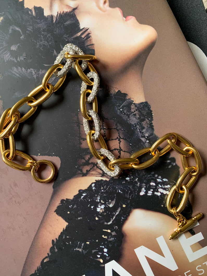 Kenneth Jay Lane Gold and Pave Chain Link Necklace