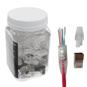 Shielded RJ45 CAT6 / CAT5e (24AWG) internal ground connector with boot