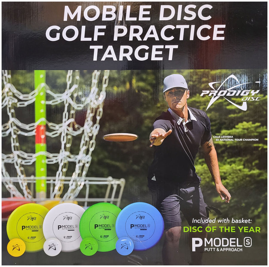 MOBILE DISC GOLF TARGET WITH BAG, 4 DISCS AND 4 MINIS