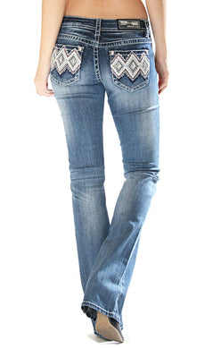 Grace in LA - Aztec Embellished Pocket Bootcut Jeans