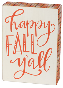 Happy Fall Y'all Box Sign
