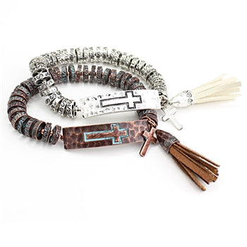 Cross & Tassel Metal Beaded Bracelet - Patina