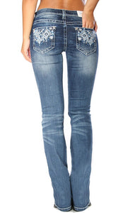Grace in LA-Medium wash Easy Fit Western Embellished Bootcut