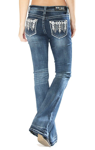 Grace in LA - Easy Fit Embellished Pocket Bootcut Jeans