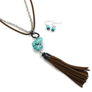 Hide & Chain Necklace with Turquoise & Brown Tassel Set