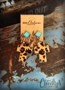 Leopard and Turquoise Cross Earrings