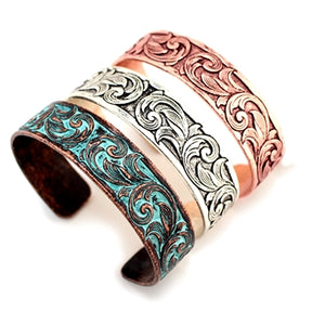 Thin Tooled Cuff Bracelet