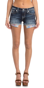 Miss Me-Flower Pocket Jean Shorts