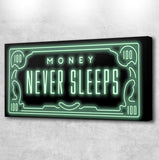 Money never sleeps canvas print