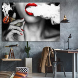 Girl Smoking Money Canvas painting