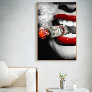 Money Smoking Clouds Wall Canvas