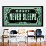 Money Never Sleep Canvas Art