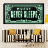 Money Never Sleep HD Canvas Art