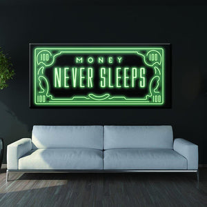 Money Never Sleeps canvas painting