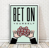 BET ON YOURSELF canvas wall art