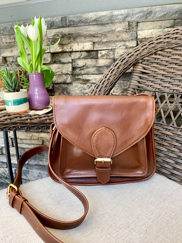 Myra Brown Leather Satchel by Joyn from India