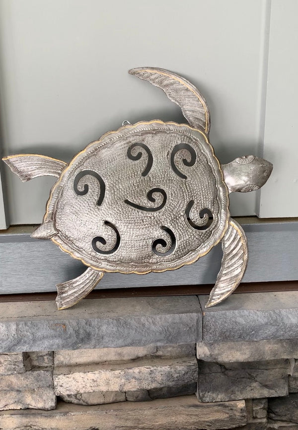 Recycled Steel Drum Sea Turtle by Singing Rooster from Haiti
