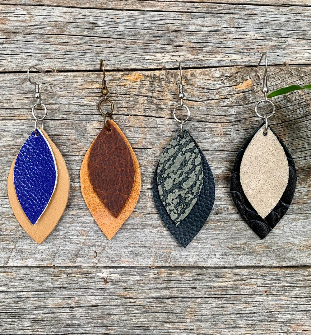 Mini Two Leaf Earrings by DuHope and Kundwa Collective from Rwanda