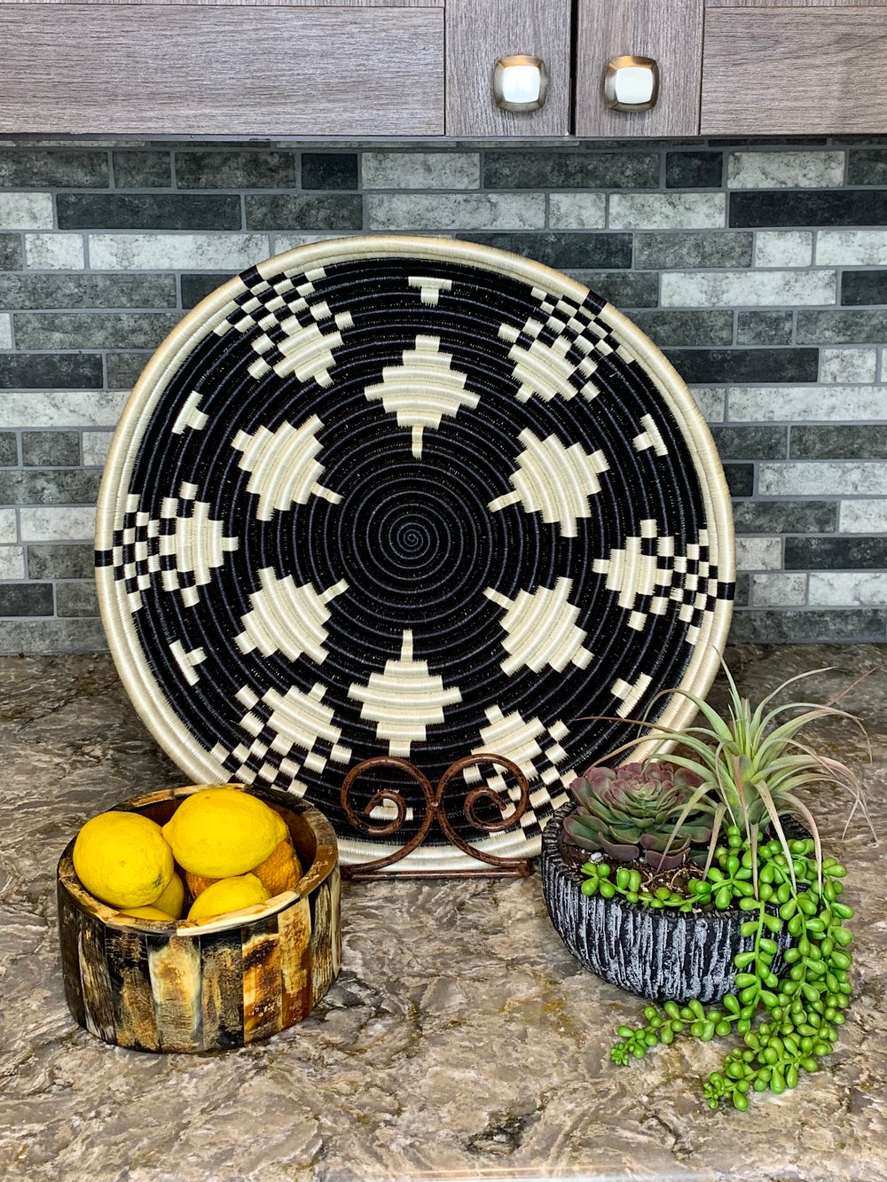 Kaleidoscope Woven Large Tray by Azizi Life from Rwanda