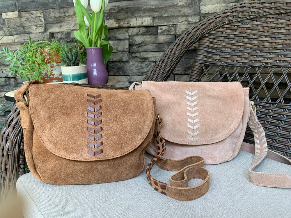 Alisha Suede Crossbody by Joyn from India
