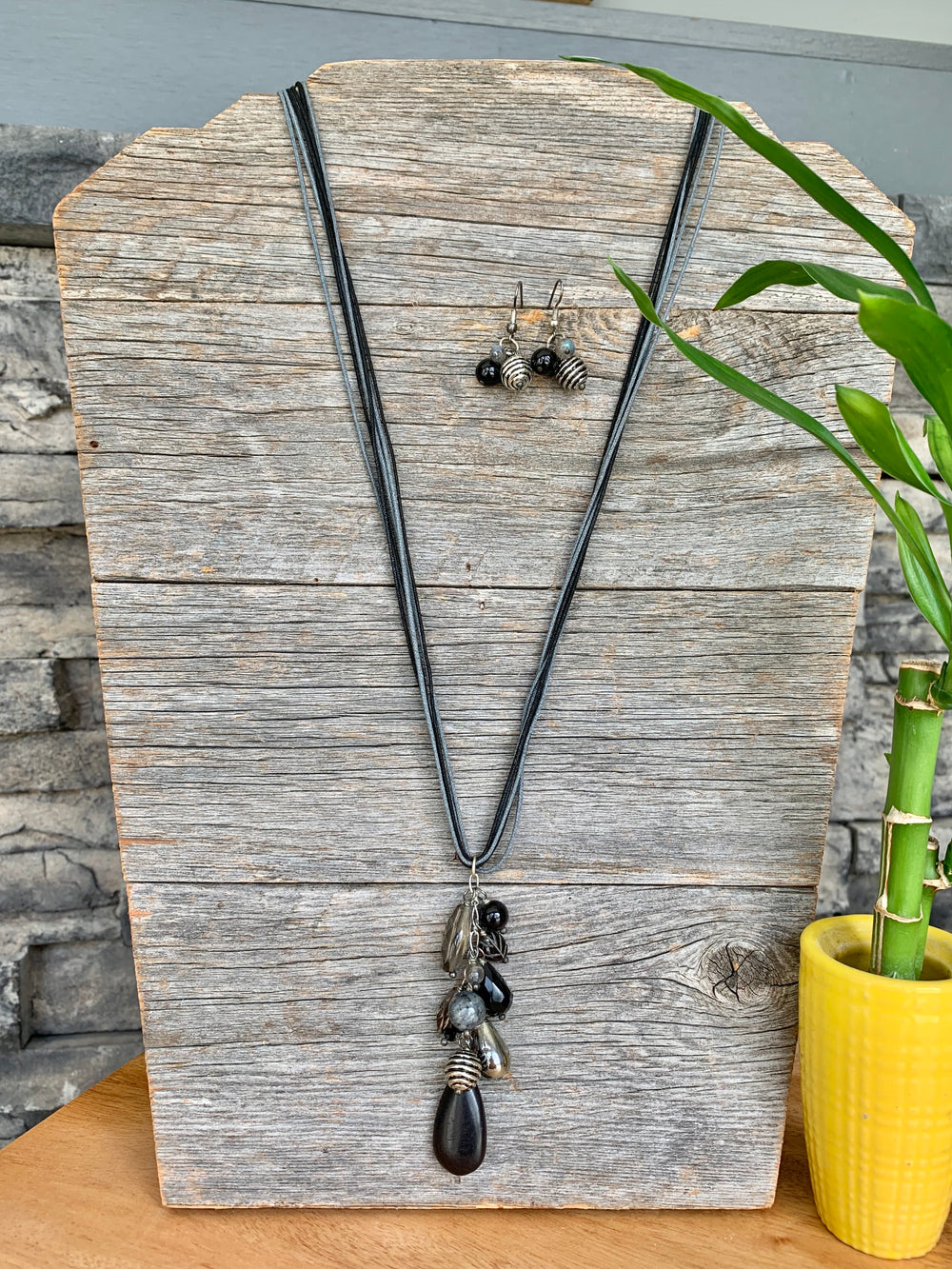 Black and Silver Pendant Necklace and Earring Set by Guardian Village from Nepal