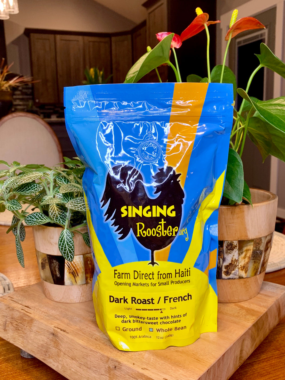 French Dark Roast Coffee by Singing Rooster from Haiti