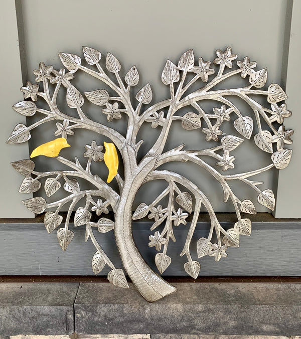 Recycled Steel Drum Love Bird Tree of Life by Singing Rooster from Haiti