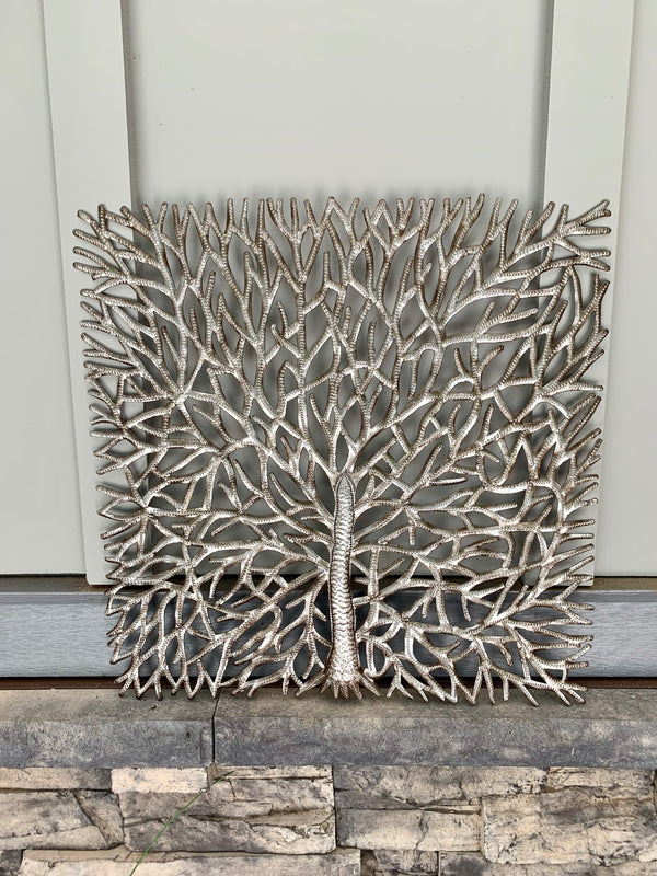 Steel Drum Square Tree Wall Hanging by Papillon from Haiti