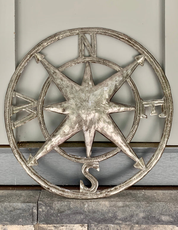 Compass Recycled Steel Drum Sign by Papillon from Haiti