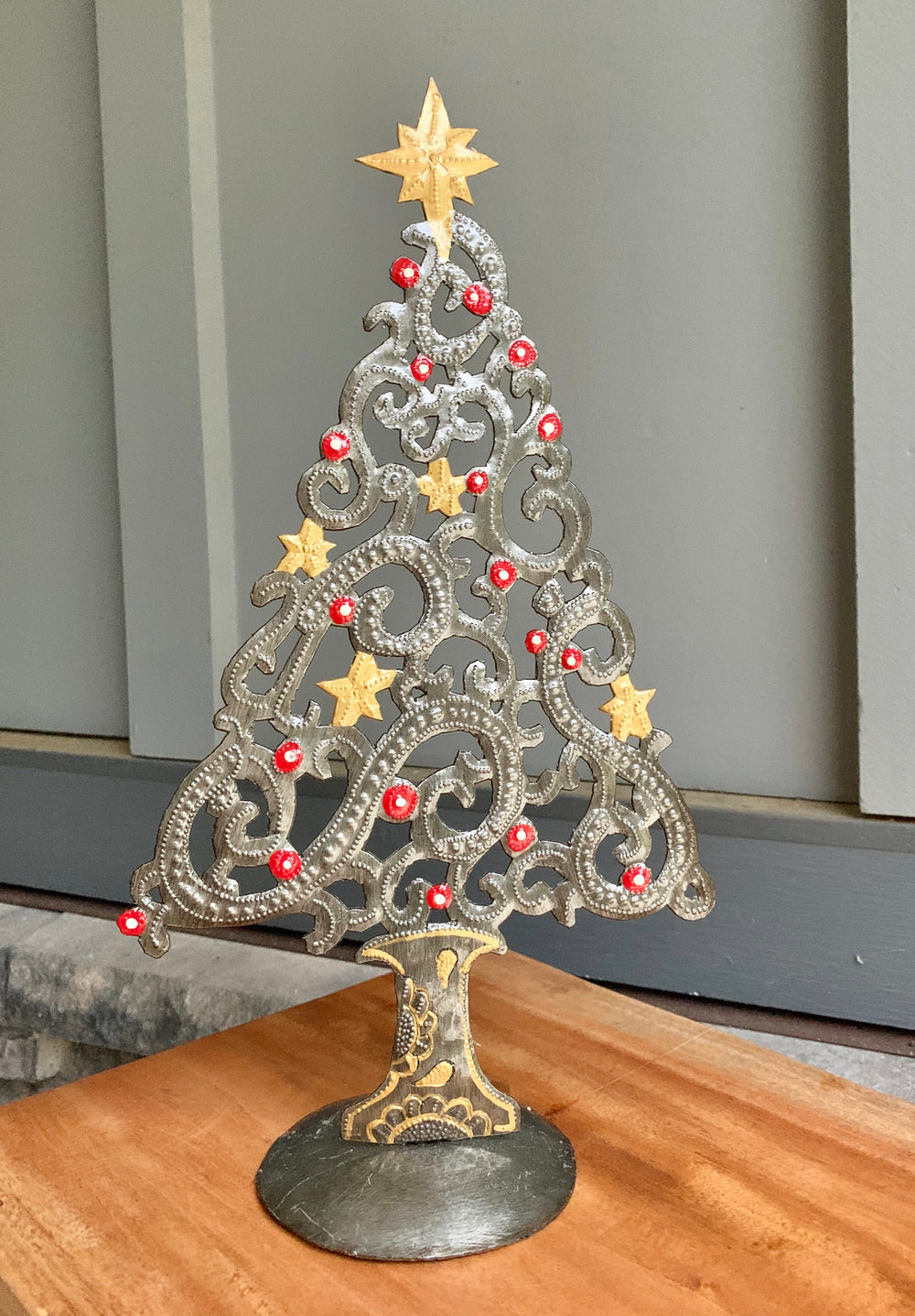 Recycled Steel Drum Christmas Tree by Singing Rooster from Haiti
