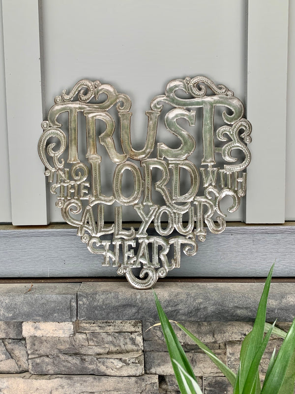 Trust in the Lord Recycled Steel Drum Sign by Papillon from Haiti
