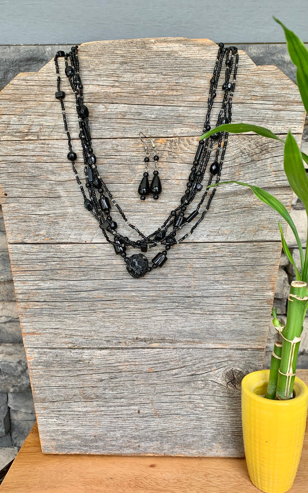 Black Multistrand Necklace and Earring Set by Guardian Village from Nepal