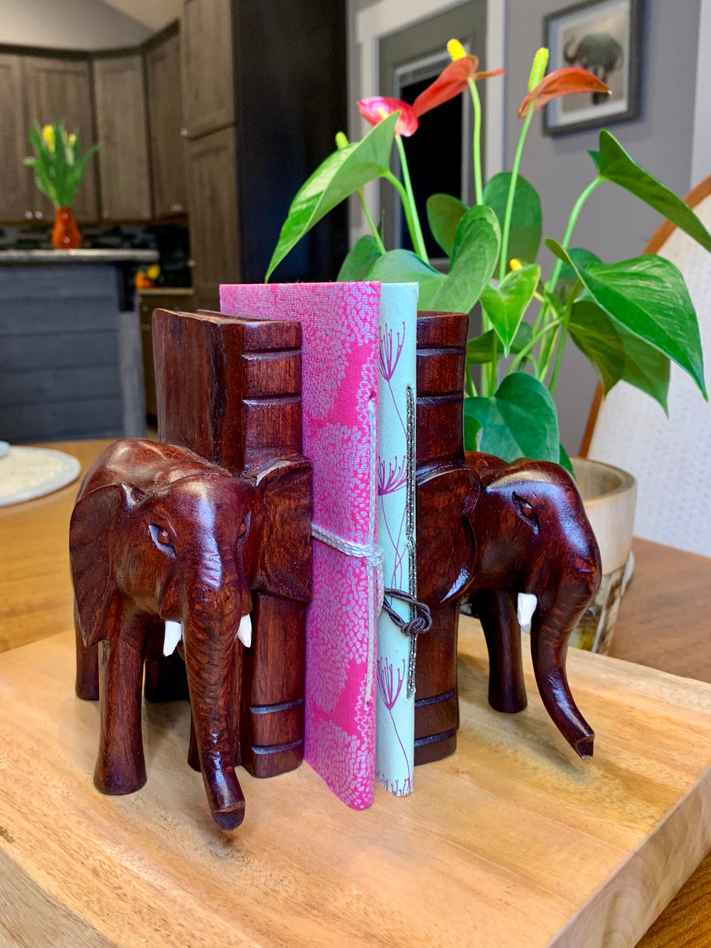 Wooden Elephant Bookends by Azizi Life from Rwanda