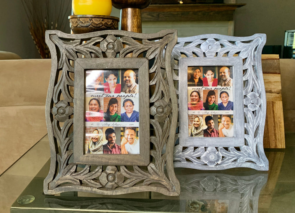 Hand Carved Mango Wood Frame by Village Artisan from Asia