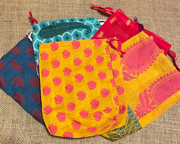 Recycled Sari Mini Scrub Gift Bag by the White Peacock from India