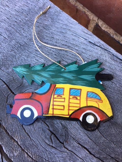 Old Time Christmas Car Ornament by Singing Rooster from Haiti