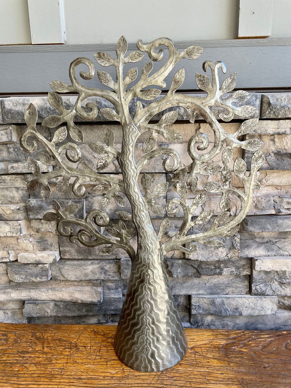 Recycled Steel Drum Standing Tree of Life by Singing Rooster from Haiti