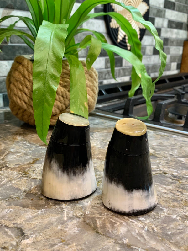 Horn Salt and Pepper Set by Atelier Calla from Haiti
