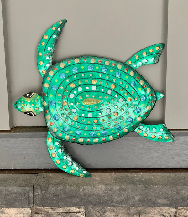 Recycled Steel Drum Green Sea Turtle by Singing Rooster from Haiti
