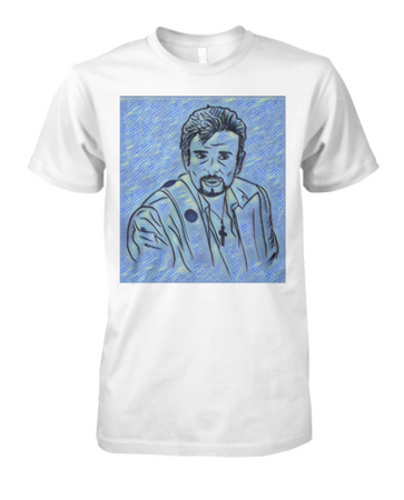 T-Shirt Johnny dessin Bleu
