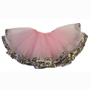 Fluffy Pink Tulle Tutu  With Leopard Trim
