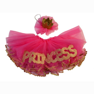 Pink & Gold Tutu Set, Princess Skirt and Glitter Crown