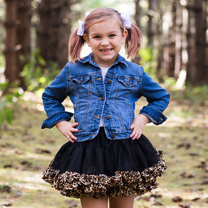 Black Fluffy Tulle Tutu With Leopard Trim