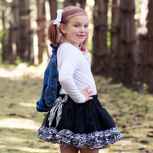Black Fluffy Tutu With Zebra Print Trim
