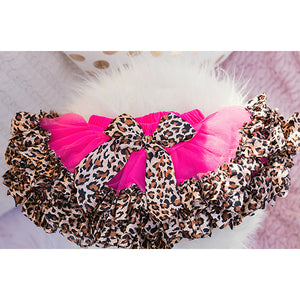 Hot Pink Fluffy Tulle Tutu with Leopard Trim