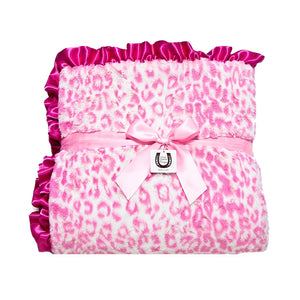 Hot Pink Jaguar Throw- Ruffled Edge