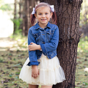 Ivory Tiered Tutu Skirt With Bow
