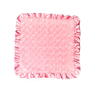 Solid Pink Rosebuds Security Blanket