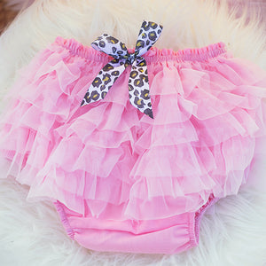 Pink Ruffle Bloomers with Leopard Bow